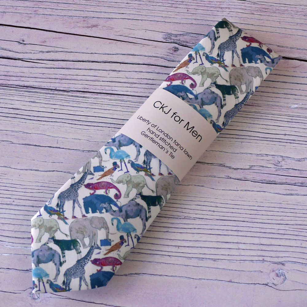 Fun Zoo animals Liberty print tie - Queue for the Zoo blue