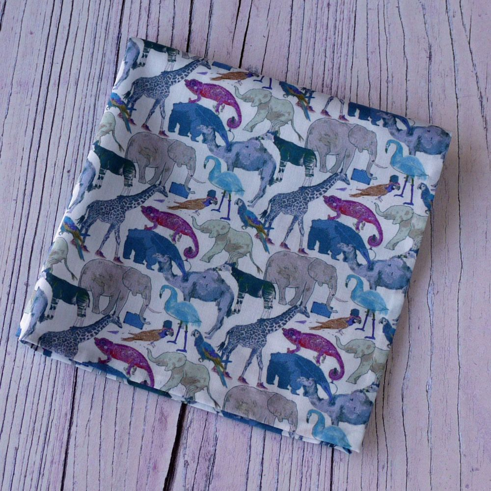 Fun zoo animal pocket square - Liberty print Queue for the Zoo