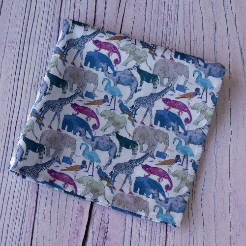 Fun zoo animal pocket square - Liberty print Queue for the Zoo