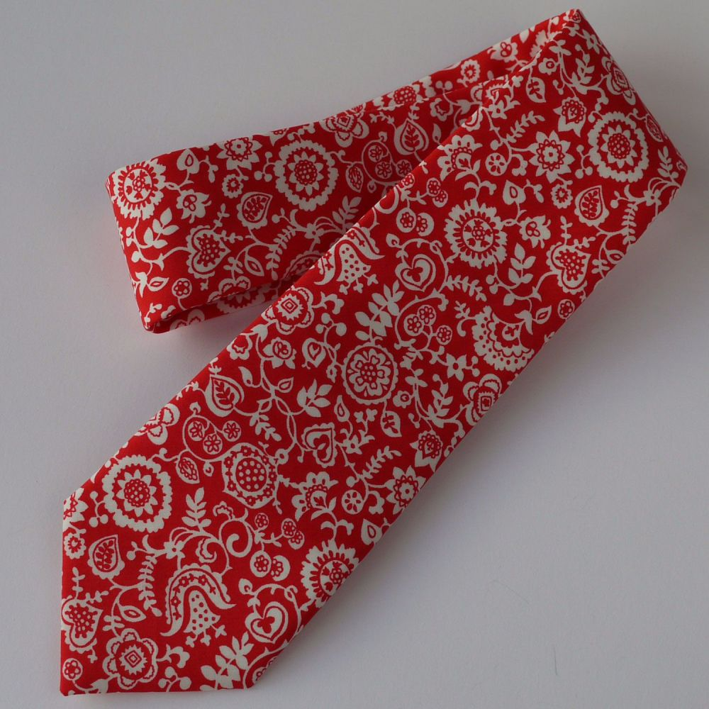 Liberty print tie - Clare and Emily red tie