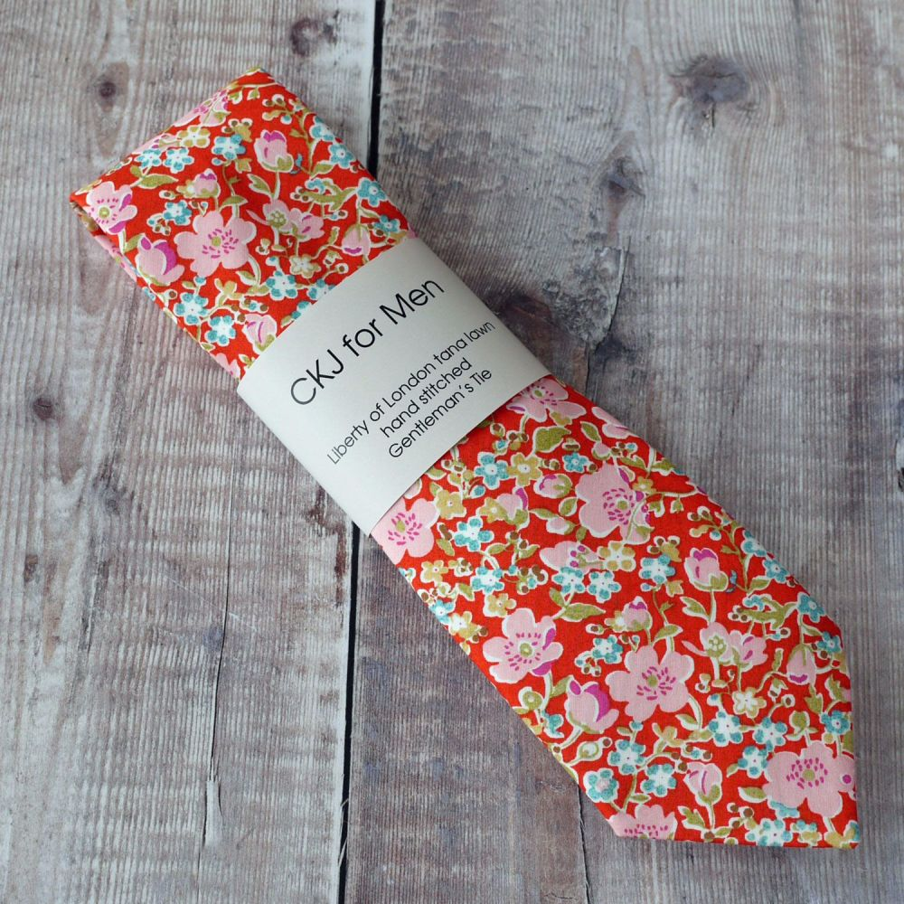 Floral Liberty print tie - John orange tie