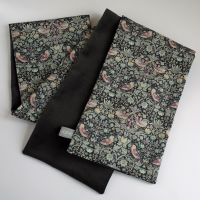 Charcoal grey velveteen  and Liberty Strawberry Thief scarf