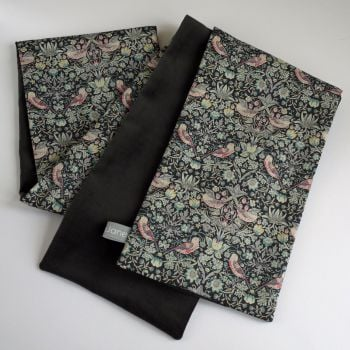 Liberty Strawberry Thief and Charcoal Grey Velveteen Scarf