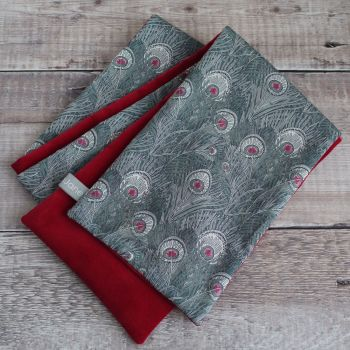 Liberty Hera Grey and Red Velveteen Scarf