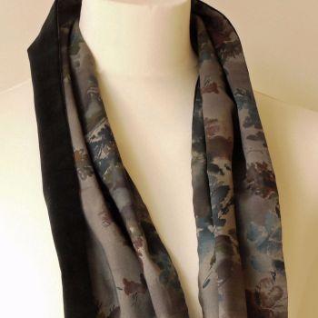 Liberty print Denise Eva and black velveteen scarf