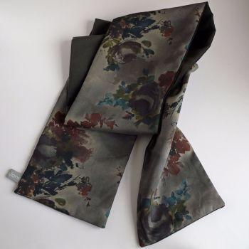 Charcoal grey and Liberty print Denise Eva velveteen scarf