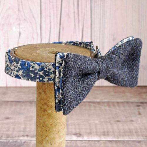 Blue tweed and Liberty print Emma & Georgina bow tie