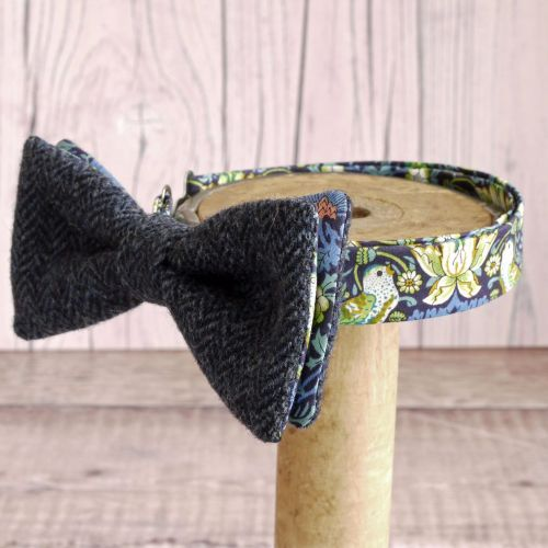 Blue tweed and Liberty print Strawberry Thief bow tie