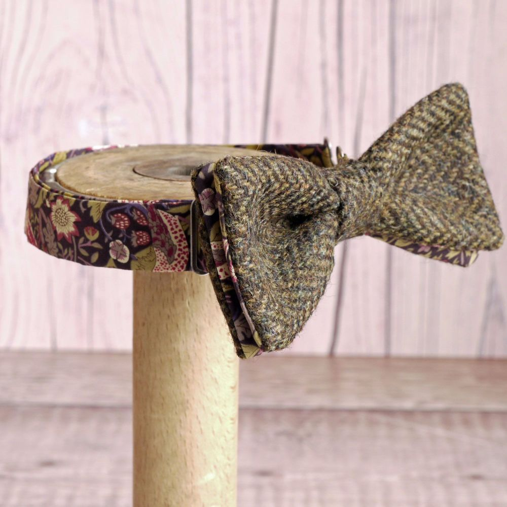 Brown tweed and Liberty print Strawberry Thief bow tie