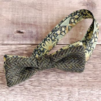 Green tweed and Liberty print Strawberry Thief bow tie