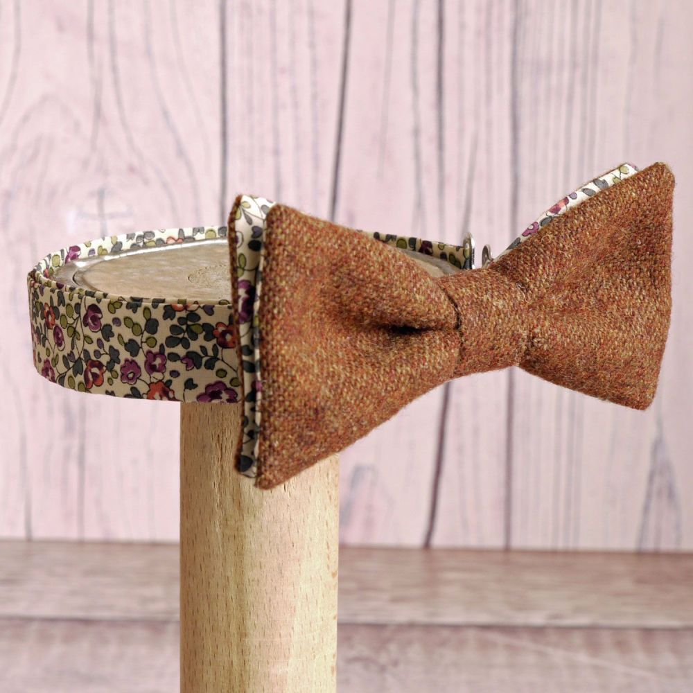 Burnt orange tweed and Liberty print Eloise bow tie