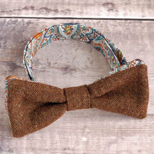 Burnt orange tweed and Liberty print Tessa bow tie