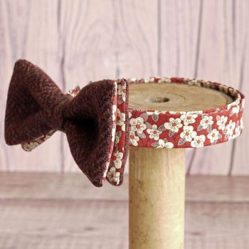 Burnt red tweed and Liberty print Ffion bow tie