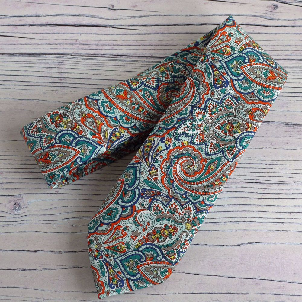 Gentleman's hand-stitched paisley tie - Tessa - Liberty print tie