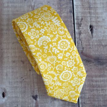 Liberty print tie - Clare and Emily yellow tie