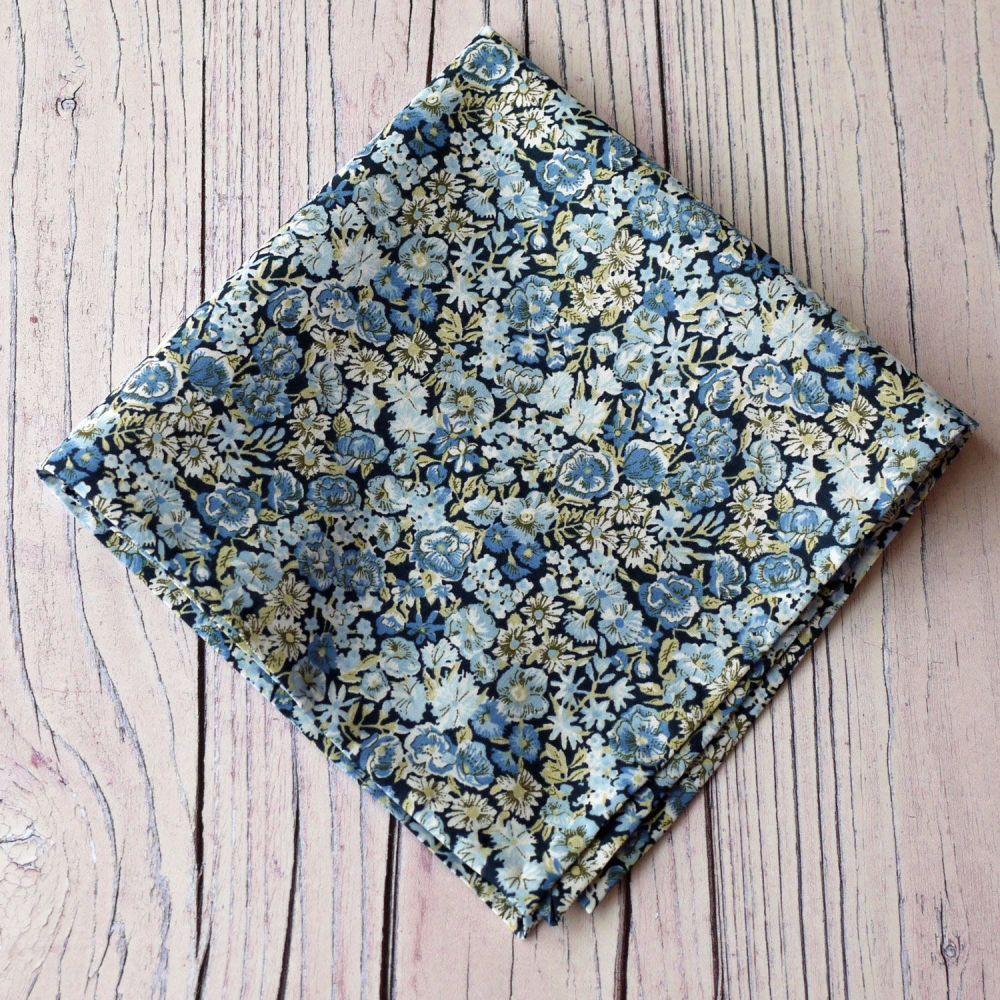 Floral Liberty print pocket square - Chive blue pocket square