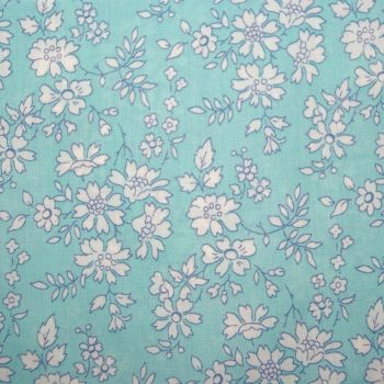 Gentleman's turquoise floral pocket square - Liberty tana lawn Capel