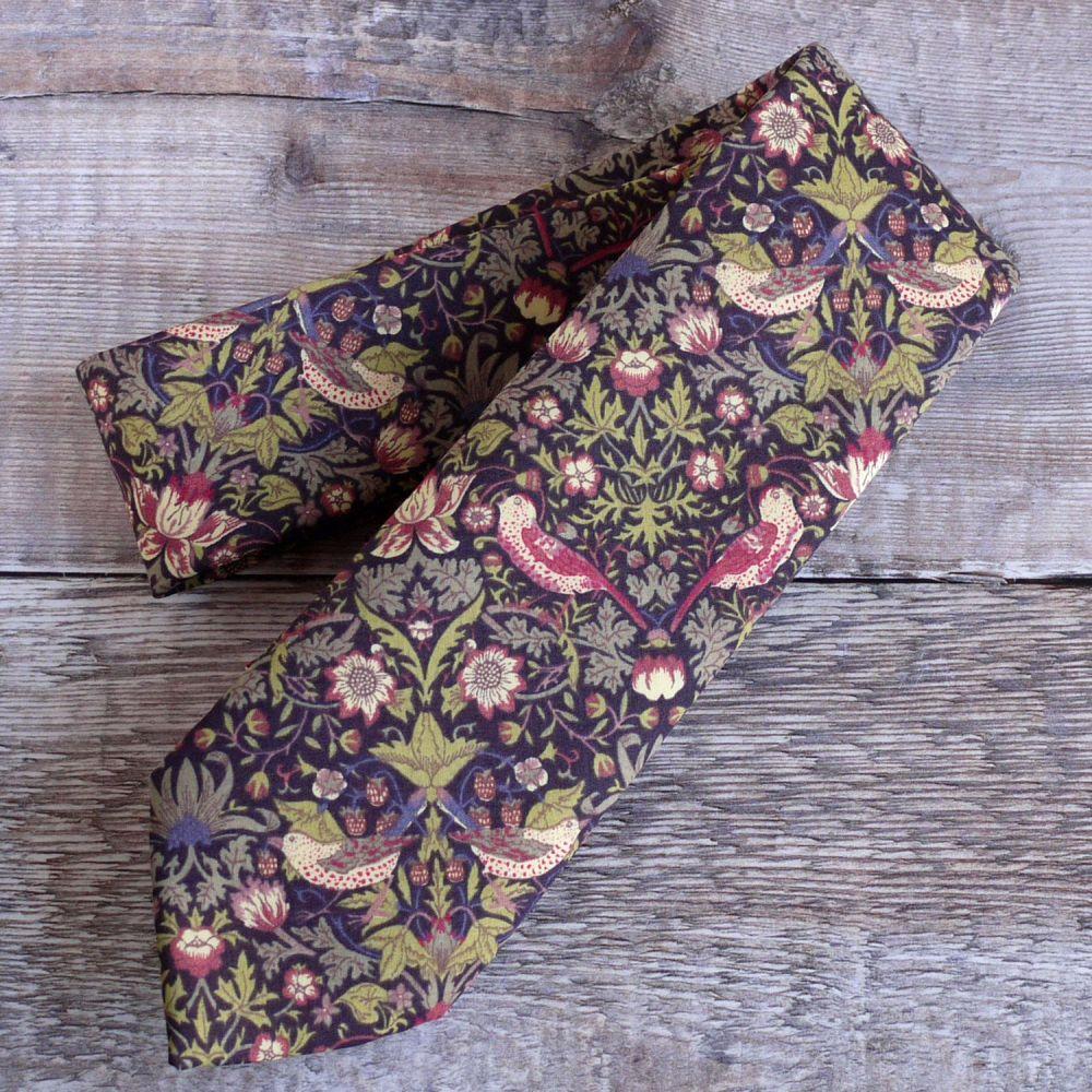 Gentleman's hand stitched tie - Strawberry Thief brown