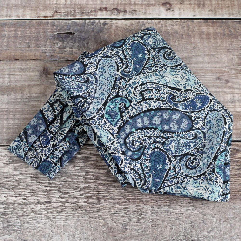 Paisley Liberty print cravat - Bourton blue