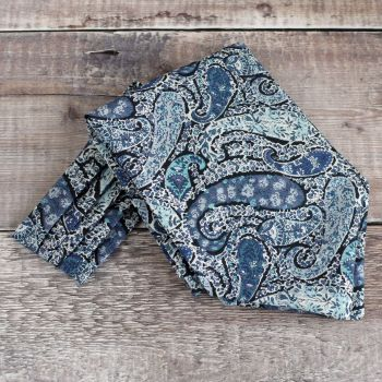 Bourton blue paisley cravat made from Liberty fabric