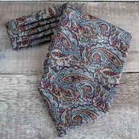 Tessa brown and blue paisley cravat made from Liberty fabric