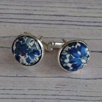 Liberty design Emma and Georgina cufflinks - blue floral cufflinks