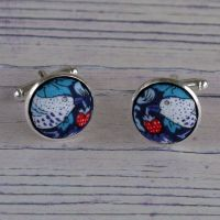 Liberty Strawberry Thief navy silver plated cuff links