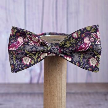 Strawberry Thief brown Liberty print bow tie