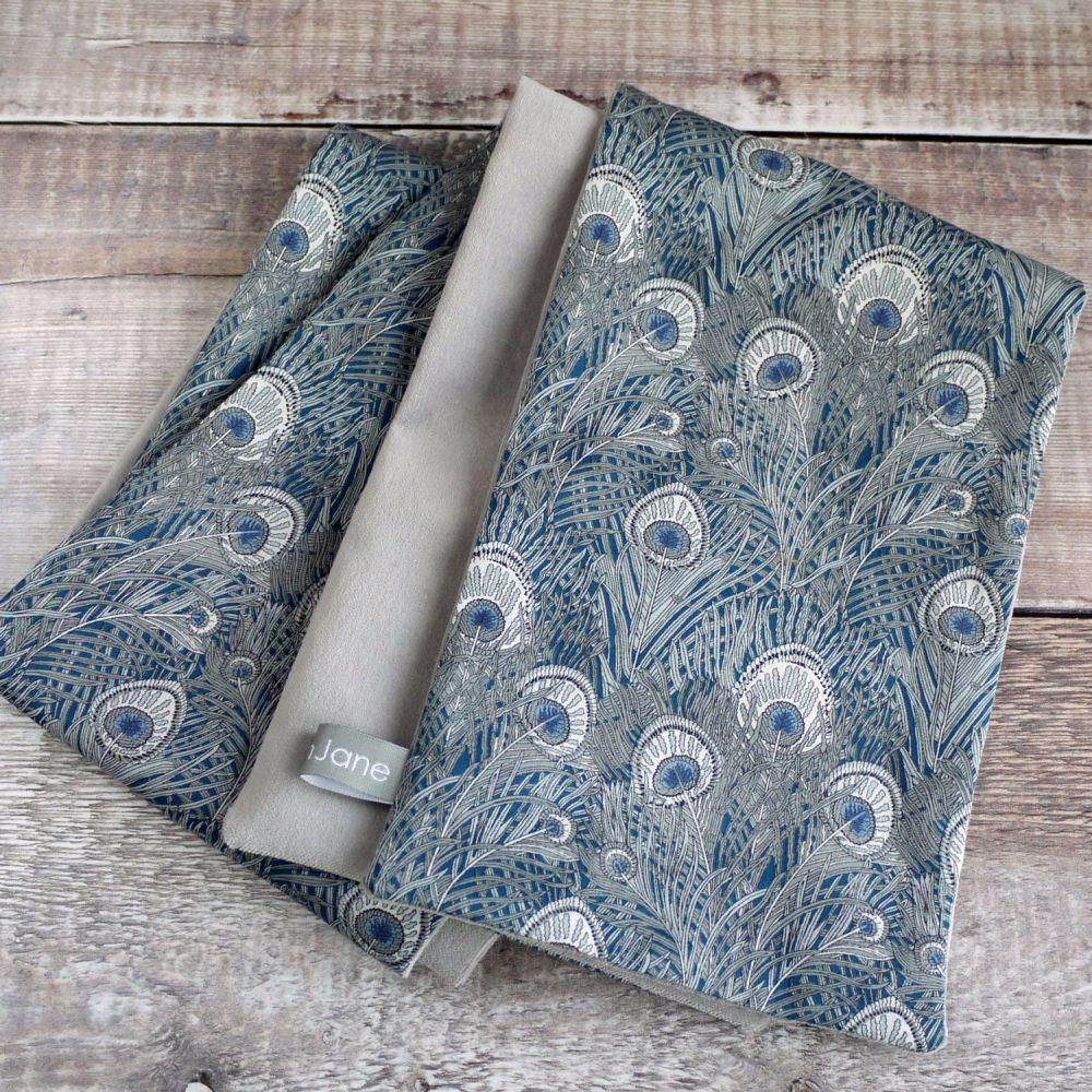 Liberty Hera Blue and Grey Velveteen Scarf