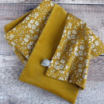 Gold velveteen and Liberty Capel mustard scarf