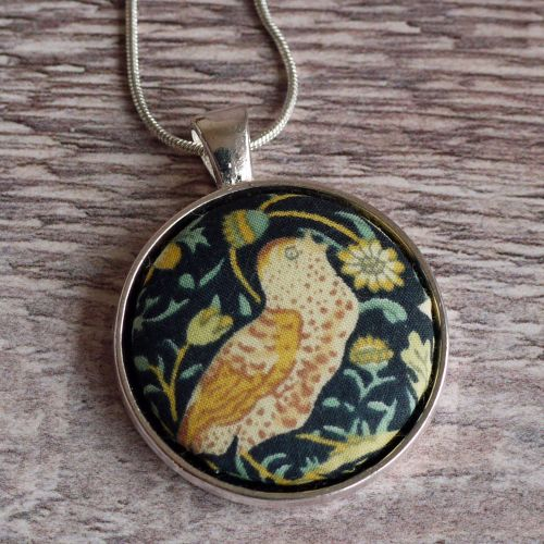 Liberty print pendant - Strawberry Thief green and gold