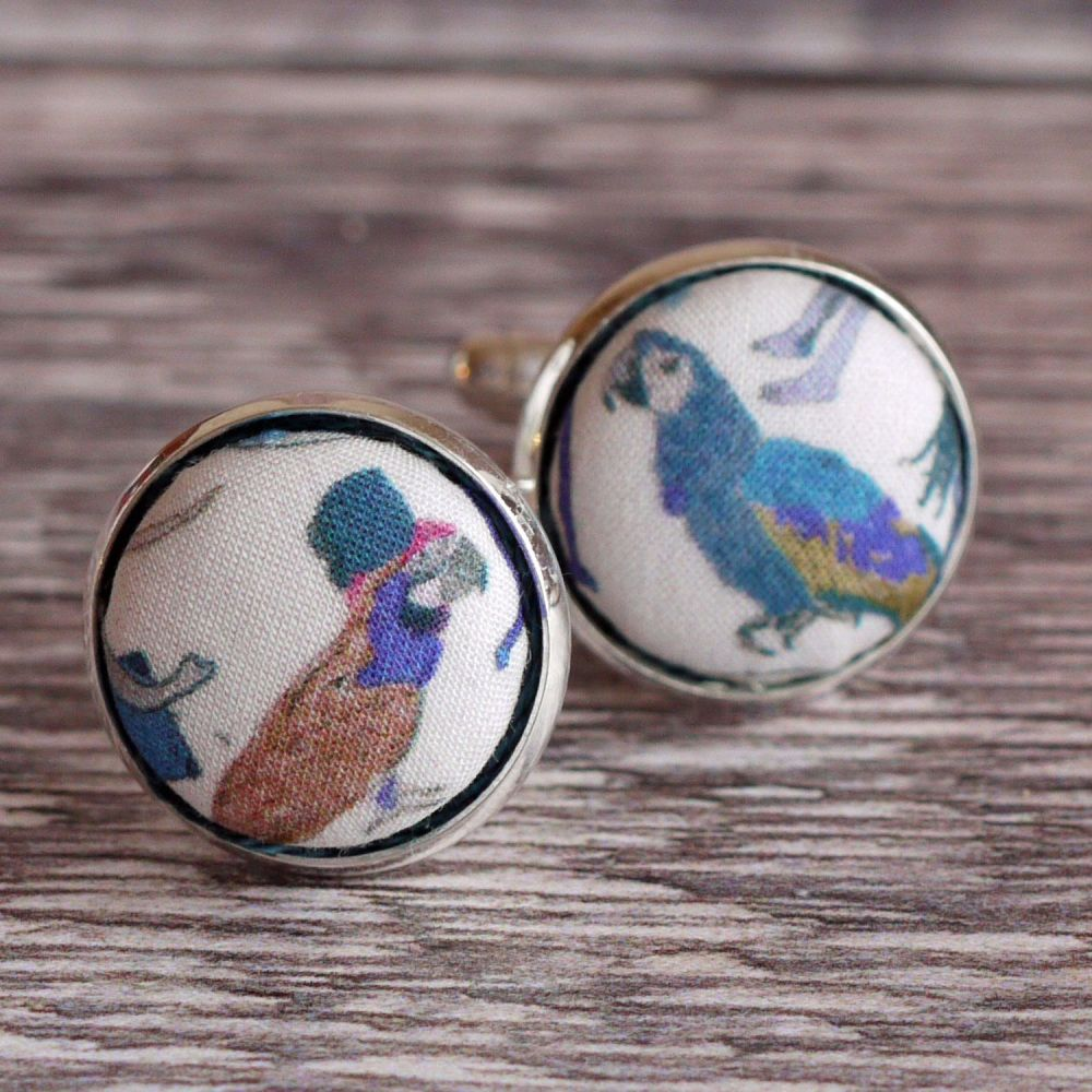 Liberty tana lawn silver plated cufflinks - Franche blue