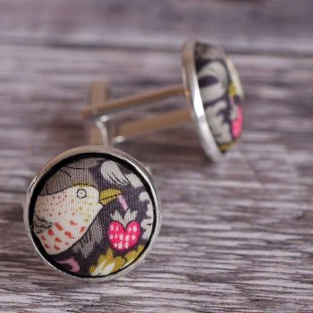 Liberty Strawberry Thief light brown silver plated cuff links