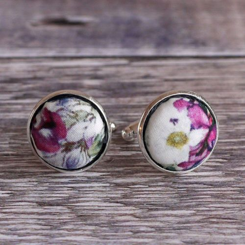 Liberty tana lawn silver plated cufflinks - Eloise blue