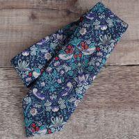 Gentleman's hand stitched tie - Strawberry Thief navy
