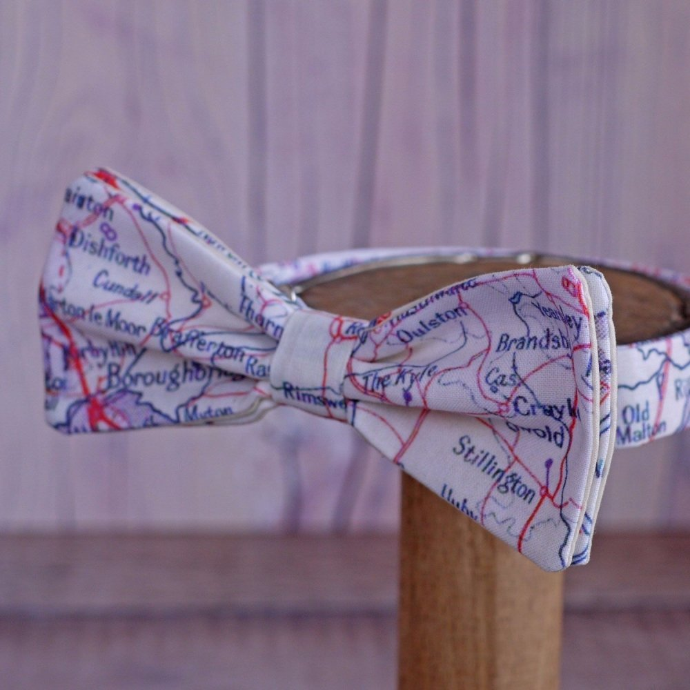 Yorkshire map print bow tie - Easingwold Boroughbridge