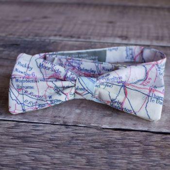 Yorkshire map print bow tie - North York Moors Pickering