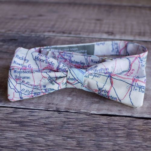 Yorkshire map print bow tie - North York Moors Pickering