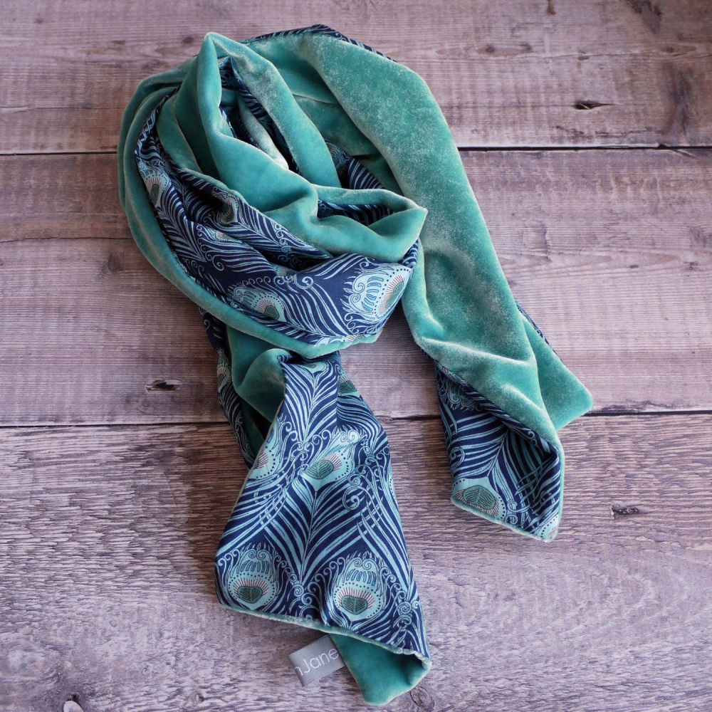 Liberty print Caesar and sea green velvet scarf