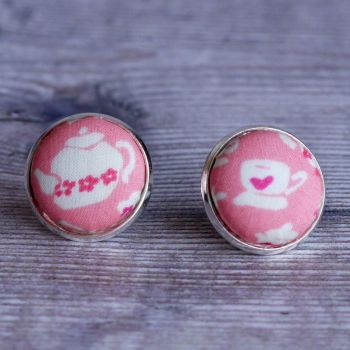 Quirky Liberty print button earrings - Suzy Elizabeth pink teacup and teapot