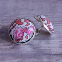 Liberty button earrings - Eloise peach pink