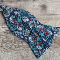 Strawberry Thief navy blue Liberty print bow tie