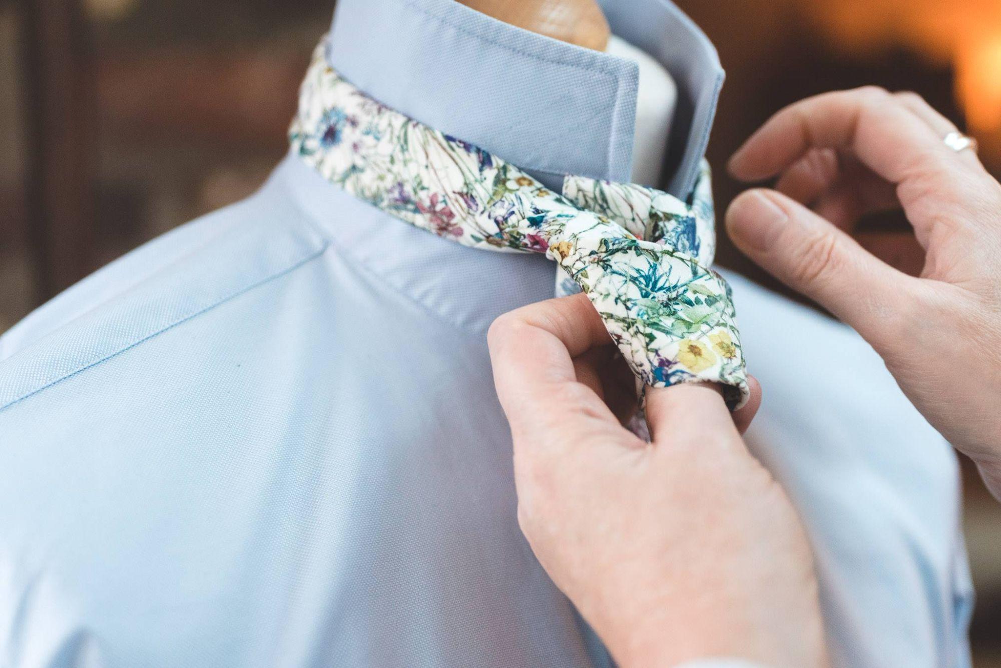 hand-stitched wedding ties