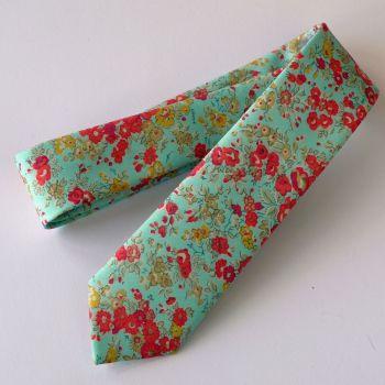 Gentleman's hand-stitched floral Liberty print tie - Tatum aqua