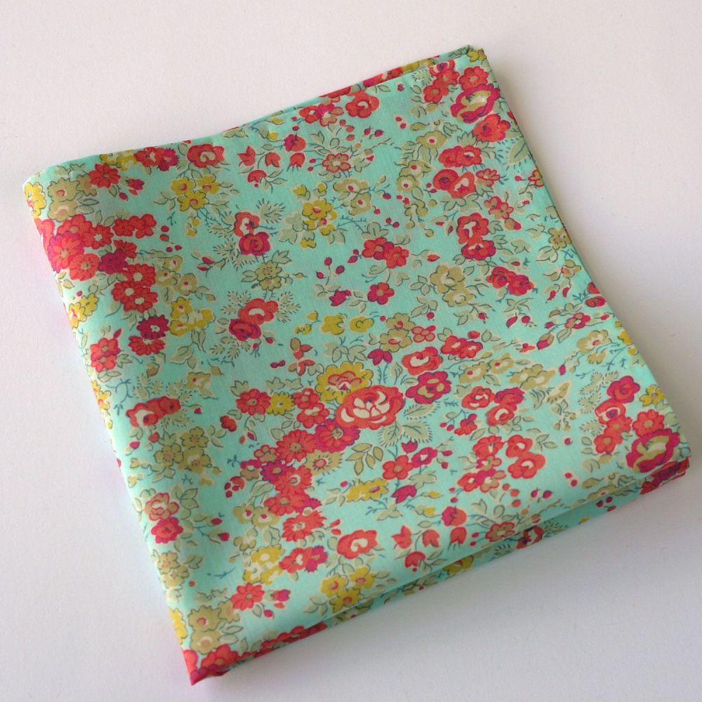 Liberty print floral pocket square - Tatum aqua