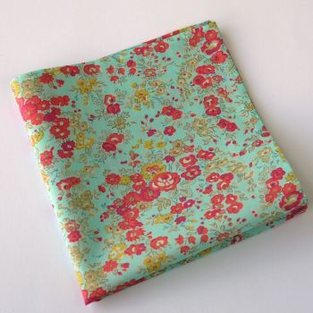 Liberty print floral pocket square - Tatum aqua