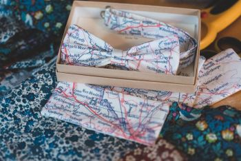 Yorkshire map print bow tie