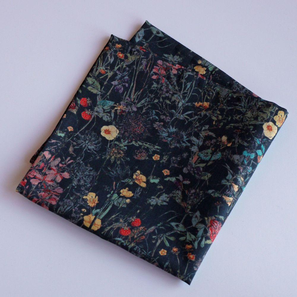Floral men's pocket square - Liberty tana lawn Emilia's Flowers pink
