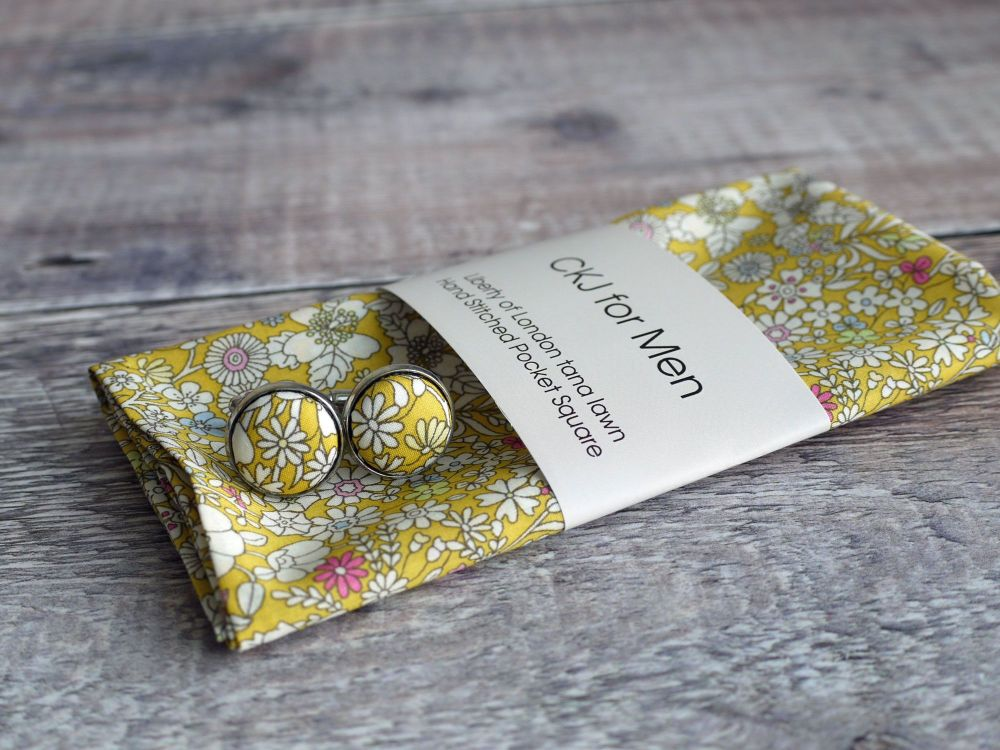 Liberty print Junes Meadow yellow cufflinks and pocket square