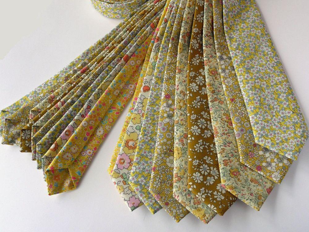 Yellow Liberty print wedding ties